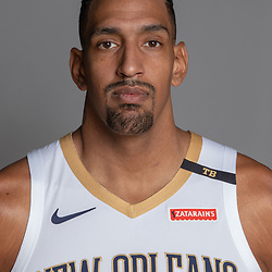Sep 24, 2018; New Orleans, LA, USA; New Orleans Pelicans center Alexis Ajinca (42) poses for a portrait during Media Day at Ochsner Performance Center. Mandatory Credit: Derick E. Hingle-USA TODAY Sports