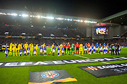 The teams shake hands before the Europa League group stage match between Rangers FC and Villareal CF at Ibrox, Glasgow, Scotland on 29 November 2018.