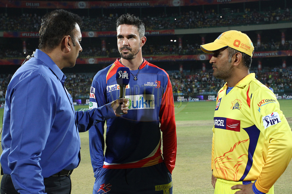 Ravi Shastri interviews Kevin Pietersen captain of the Delhi Daredevils and MS Dhoni captain of The Chennai Super Kings after the toss during match 26 of the Pepsi Indian Premier League Season 2014 between the Delhi Daredevils and the Chennai Super Kings held at the Feroze Shah Kotla cricket stadium, Delhi, India on the 5th May  2014<br /> <br /> Photo by Shaun Roy / IPL / SPORTZPICS<br /> <br /> <br /> <br /> Image use subject to terms and conditions which can be found here:  http://sportzpics.photoshelter.com/gallery/Pepsi-IPL-Image-terms-and-conditions/G00004VW1IVJ.gB0/C0000TScjhBM6ikg
