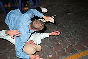 Drunk boys fighting in the street, Ibiza 2006