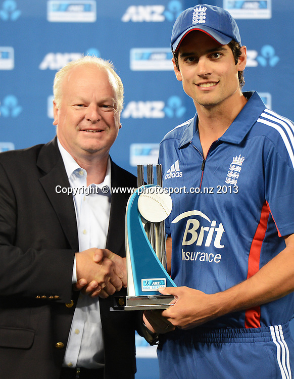 David Hisco, ANZ CEO with England Captain Alastair Cook at the post match presentation. Match 3 of the ANZ ODI International one day cricket series. New Zealand Black Caps v England. Eden Park, Auckland on Saturday 23 February 2013. Photo: Andrew Cornaga/Photosport.co.nz