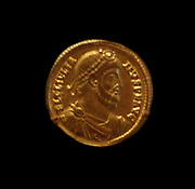 Gold con depicting the Roman Emperor Julian. AD 361-363. Julian the Apostate 331/332  – 363), commonly known as Julian, or also Julian the Philosopher, was Roman Emperor from 355 to 363 and a noted philosopher and Greek writer.