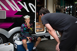 Barbara Guarischi (ITA) of CANYON//SRAM Racing gets advice from DS Ronny Lauke before the Giro Rosa 2016 - Stage 7. A 21.9 km individual time trial from Albisola to Varazze, Italy on July 8th 2016.