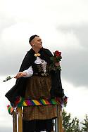 Jón Gnarr Mayor of Reykjavik dressed in womens national costume at Reykjavik Gay Pride parade.