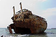 Old ship in Panguila beach, Angola
