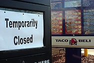 PHILADELPHIA - DECEMBER 7:  at a closed Taco Bell restaurant December 7, 2006 in Philadelphia, Pennsylvania. .Taco Bell restaurants in the Philadelphia area have closed voluntarily for testing. Five people who contracted an E. coli illness dined at Taco Bell before falling ill.  (Photo by William Thomas Cain/Getty Images)