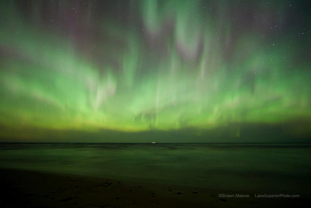 This northern lights display over Lake Superior is a frame from the timelapse video of this event that was shown on NBC Nightly News with Brian Williams in April of 2012.