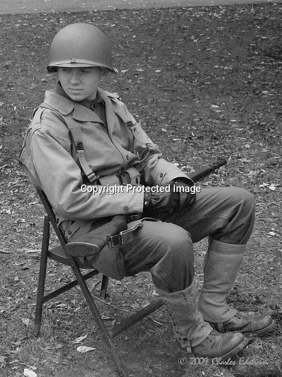 WWII american soldier re-enactment black and white