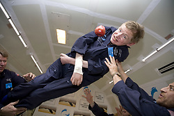 Physicist Stephen Hawking experiences a very weight moment during a flight on Zero Gravity jet, near Florida on April 26, 2007. Photo by Zero G via Balkis Press/ABACAPRESS.COM  | 121247_04 Orlando