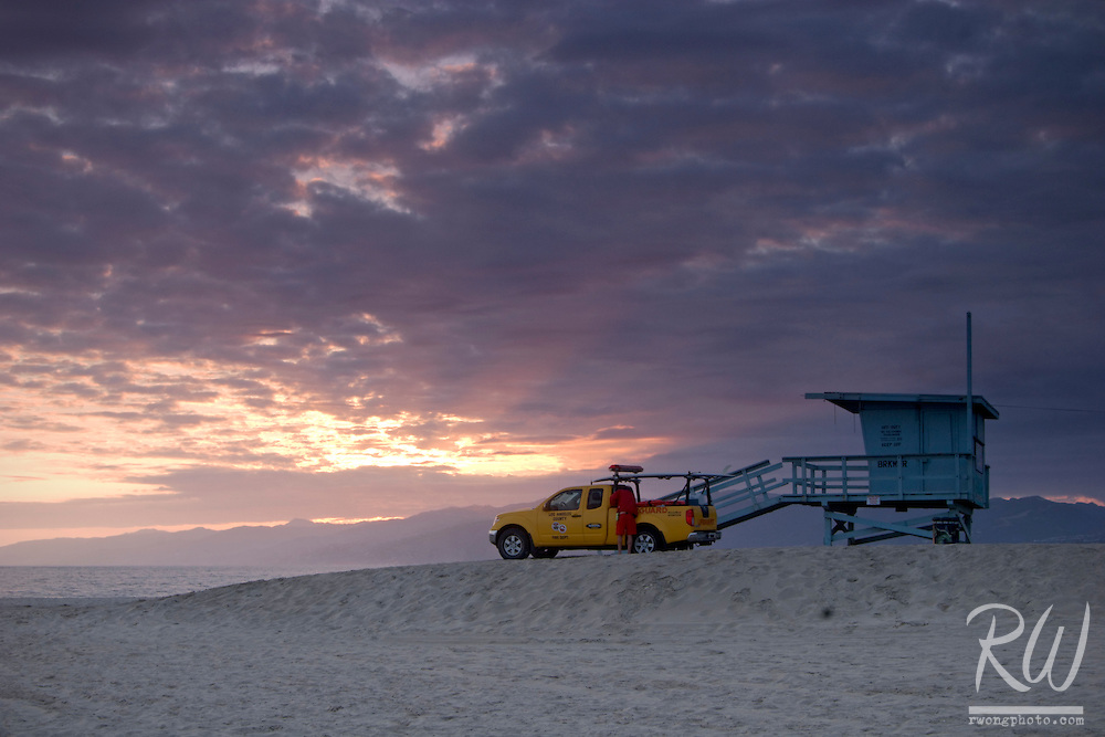 Lifeguard Station and Beach Patrol Truck at Sunset, Venice, California
