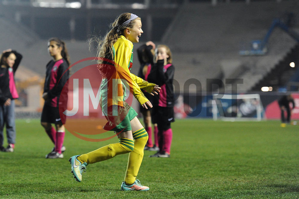 A Cheddar Grove player celebrates after scoring her penalty  - Photo mandatory by-line: Dougie Allward/JMP - Mobile: 07966 386802 - 19/03/2015 - SPORT - Football - Bristol - Ashton Gate - Bristol Sport Schools Cup