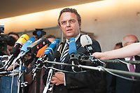 17 JUL 2013, BERLIN/GERMANY:<br /> Hans-Peter Friedrich, MdB, FDP, Bundesinnenminister, gibt ein Statemnt, nach einerSondersitzung Innenausschuss Deutscher Bundestag zum NSA Abhoerprogramm PRISM und die Reise des Innenministers in die USA in dieser Sache, Paul-Loebe-Haus<br /> IMAGE: 20130717-02-049<br /> KEYWORDS: Abhöraffäre, Affaere,Abhoerskandal, Abhörskandal, Mikrofon, microphone