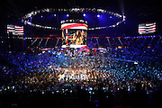 LAS VEGAS, NV - JUNE 09:  A general view of the arena as Jessica Sanchez sings the national anthem before the Pacquiao v Bradley fight at MGM Grand Garden Arena on June 9, 2012 in Las Vegas, Nevada.  (Photo by Jeff Bottari/Getty Images) *** Local Caption *** Jessica Sanchez