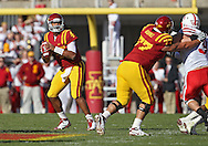 November 06 2010: Iowa State Cyclones quarterback Austen Arnaud (4) looks for a receiver during the first half of the NCAA football game between the Nebraska Cornhuskers and the Iowa State Cyclones at Jack Trice Stadium in Ames, Iowa on Saturday November 6, 2010. Nebraska defeated Iowa State 31-30.
