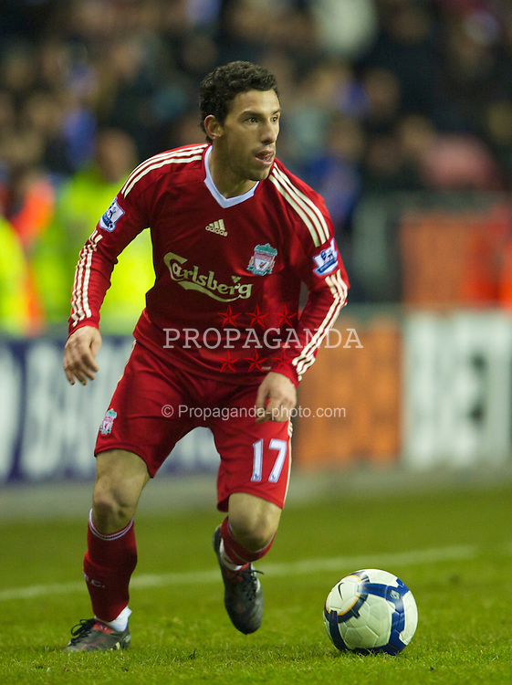 WIGAN, ENGLAND - Monday, March 8, 2010: Liverpool's Maximiliano Ruben Maxi Rodriguez in action against Wigan Athletic during the Premiership match at the DW Stadium. (Photo by David Rawcliffe/Propaganda)