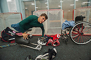 Brody Roybal, a 15-year-old student from Northlake, has been selected for the U.S. sled hockey team, a National Paralympic team. On Wednesday evening Roybal practiced with his club team the RIC Blackhawks at the McFetridge ice arena in Chicago.<br /> | Michael R. Schmidt-For Sun-Times Media