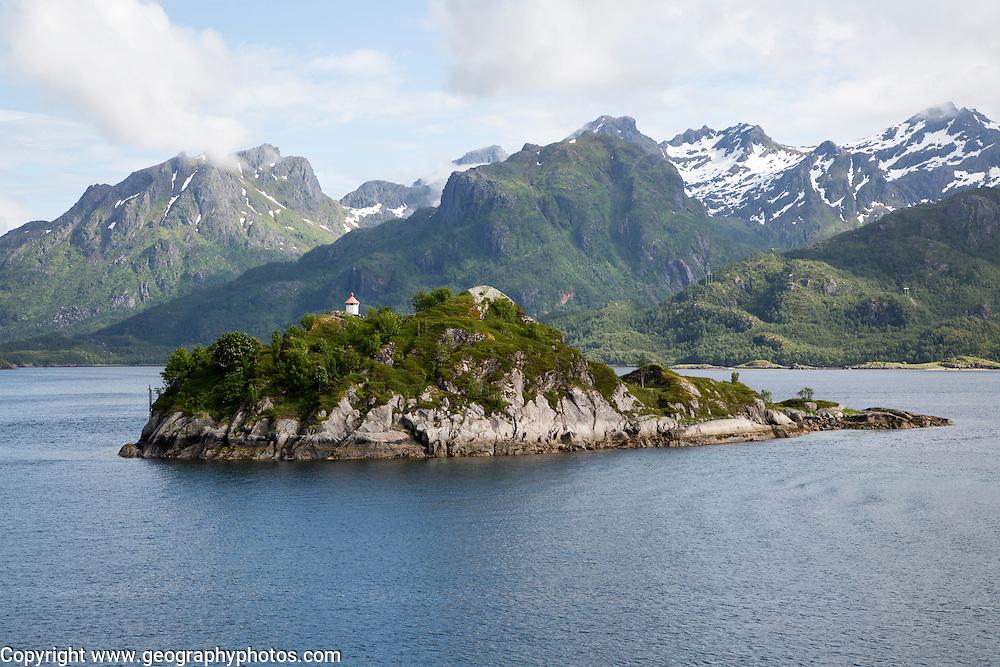 Small island, a roche moutonnee glacial landform, southern coast of Hinnoya Island, Nordland, northern Norway