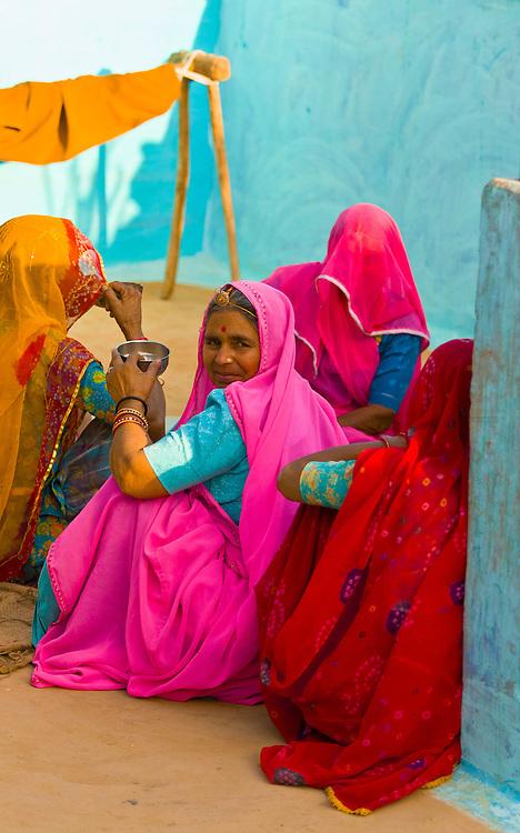 Women in Bishnoi tribal village, near Rohet, Rajasthan, India