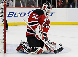Feb 5, 2010; Newark, NJ, USA; New Jersey Devils goalie Martin Brodeur (30) makes a save during the first period at the Prudential Center.