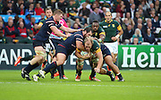 South Africa's Schalk Burger on the attack during the Rugby World Cup Pool B match between South Africa and USA at the Queen Elizabeth II Olympic Park, London, United Kingdom on 7 October 2015. Photo by Matthew Redman.