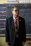MILWAUKEE, WI-FEB. 27, 2017: James DeShazer, founder of Greater Holy Temple Christian Academy in Milwaukee, WI, stands for a portrait in an empty classroom Feb. 27, 2017. DeShazer says he started the school after his brother, whose dream was to open the school, passed away. Milwaukee has the oldest voucher system in the country, and at Greater Holy Temple Christian Academy, nearly 100% of the students use vouchers.<br />