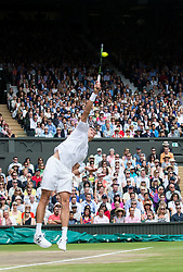 LONDON, ENGLAND - Sunday, July 10, 2016:  Andy Murray (GBR) during the Gentlemen's Singles Final match against Milos Raonic (CAN) on day fourteen of the Wimbledon Lawn Tennis Championships at the All England Lawn Tennis and Croquet Club. (Pic by Kirsten Holst/Propaganda)