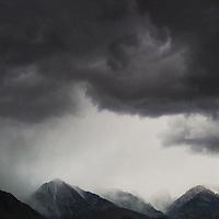 Sierra Nevada mountains alongside Highway 395 in California as a storm rolls in