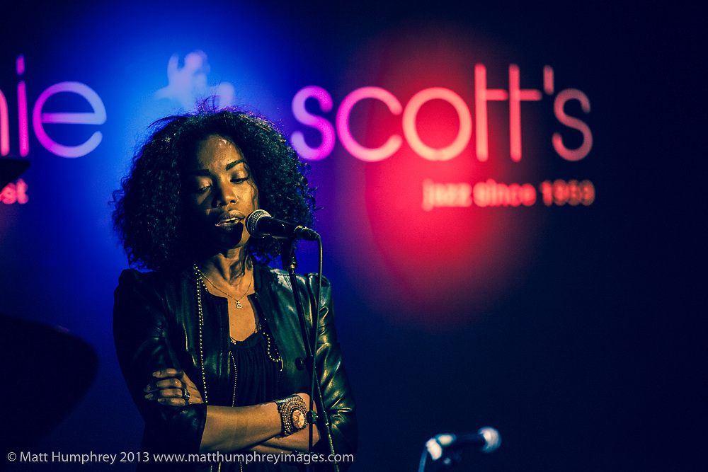 Heather Headley during rehearsal for BBC Radio 2 pilot of 'Joe Stilgoe: One Night Stand' at Ronnie Scott's Jazz Club, London, February 2013. Mandatory credit for all image use online or printed. Copyright and credit to © Matt Humphrey. All rights reserved.