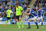 Northampton striker Marc Richards (9) wins the ball in midfield during the EFL Sky Bet League 1 match between Chesterfield and Northampton Town at the Proact stadium, Chesterfield, England on 17 September 2016. Photo by Aaron  Lupton.