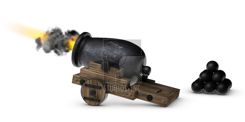 Stubby little cannon firing on a white background