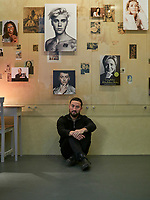 """Portrait of English artist Simon Fujiwara in his exhibition """"Hope House"""" at the Kunsthaus Bregenz. His works range from paintings and photographs to installations, film and sculptures."""