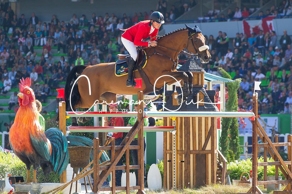 Lorenzo De Luca, (ITA), Evita Van De Veldbalie - First Round Team Competition Jumping Speed - Alltech FEI World Equestrian Games™ 2014 - Normandy, France.<br /> © Hippo Foto Team - Leanjo De Koster<br /> 03-09-14