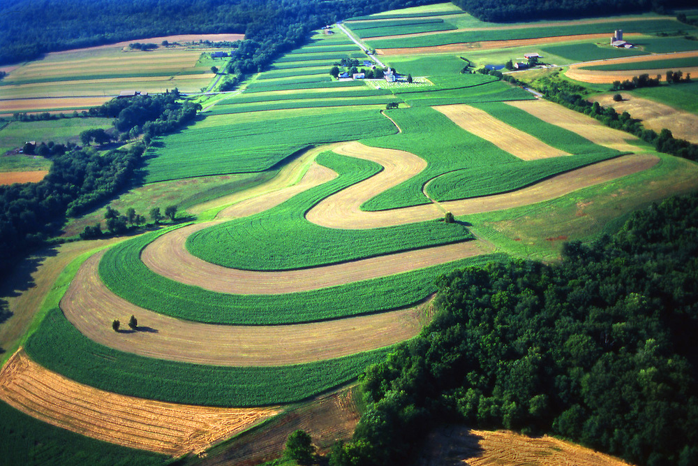 Dauphin Co., PA Farmland Contours, Mixed Cropping Aerial Photograph Pennsylvania