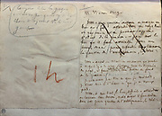 Handwritten notes for a speech against the Loi Falloux, page 1, 1850, by Victor Hugo, 1802-85, French writer, housed in the Bibliotheque de l'Assemblee Nationale, 2nd arrondissement, Paris, France. In his speech, given to the Assembly on 15th January 1850, Hugo criticises the growing influence of the catholic clergy, which had been granted control of education under the Falloux Law. Hugo calls for a separation of church and state. The Bibliotheque de l'Assemblee Nationale, or Library of the National Assembly, was created in 1796 and is housed in the Assemblee Nationale at the Palais Bourbon. Picture by Manuel Cohen