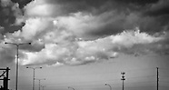 Clouds, urban landscape, Minneapolis, black and white, dramatic sky