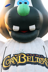 07 June 2013:   Blow up Cory Mascot in the play area of the Corn Crib during a Frontier League Baseball game between the Southern Illinois Miners and the Normal CornBelters at Corn Crib Stadium on the campus of Heartland Community College in Normal Illinois