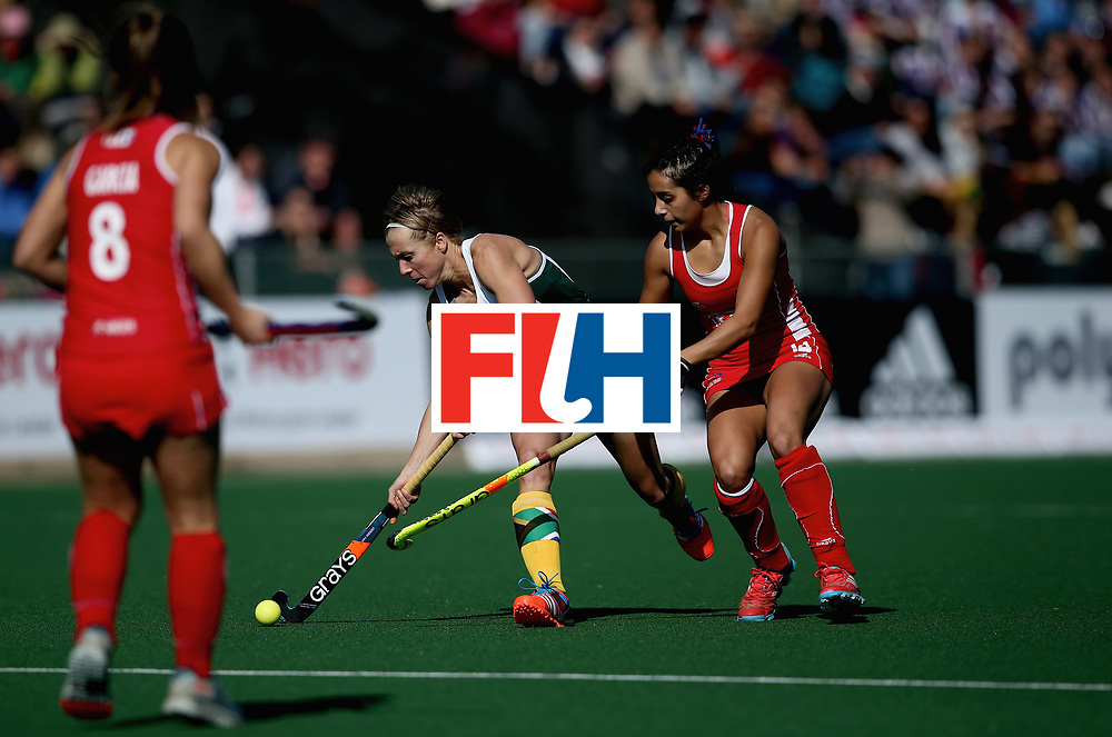 JOHANNESBURG, SOUTH AFRICA - JULY 14: Nicolene Terblanche of South Africa and Camila Caram of Chile battle for possession during day 4 of the FIH Hockey World League Semi Finals Pool B match between Chile and South Africa at Wits University on July 14, 2017 in Johannesburg, South Africa. (Photo by Jan Kruger/Getty Images for FIH)
