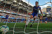 GOAL 1-1 Chelsea defender Cesar Azpilicueta (28) celebrates and collects the ball after Chelsea midfielder Eden Hazard (10) (not in picture) scores Chelsea's vital equaliser during the Premier League match between Chelsea and Wolverhampton Wanderers at Stamford Bridge, London, England on 10 March 2019.