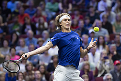 September 22, 2018 - Chicago, Illinois, U.S - Team Europe member ALEXANDER ZVEREV of Germany hits a forehand during the first singles match between Team Europe and Team World on Day Two of the Laver Cup at the United Center in Chicago, Illinois. (Credit Image: © Shelley Lipton/ZUMA Wire)