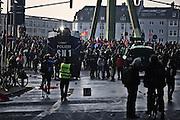 Frankfurt am Main | 18 Mar 2015<br /> <br /> Blockupy-Proteste in Frankfurt am 18.03.2015, hier: Am Morgen haben Demonstranten die Fl&ouml;&szlig;er Br&uuml;cke besetzt, die Polizei setzt Wasserwerfer ein.<br /> <br /> photo &copy; peter-juelich.com