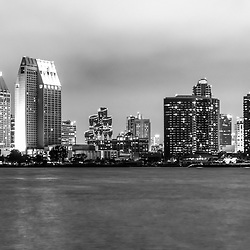 San Diego skyline at night black and white picture. San Diego is a major city in Southern California in the United States.