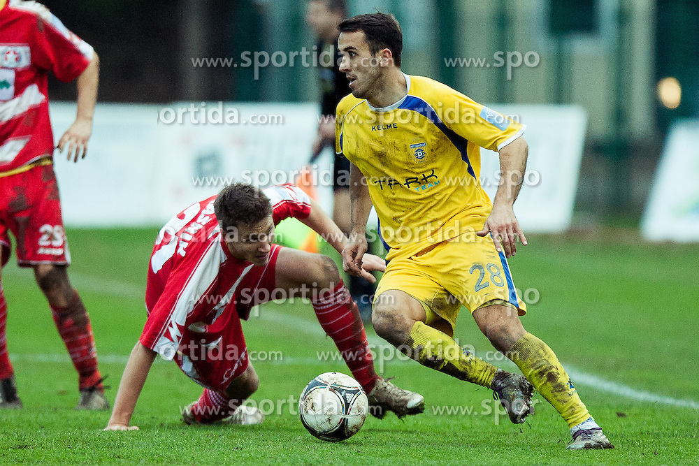 Mato Simunovic #28 of NK Domzale during football match between NK Aluminij and NK Domzale in 21th Round of Slovenian First League PrvaLiga NZS 2012/31 on December 1, 2012 in Sportni park Kidricevo, Kidricevo, Slovenia. (Photo By Gregor Krajncic / Sportida)