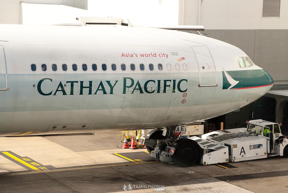 A Cathay Pacific aircraft at Sydneys Charles Kingford Smith International Airport.