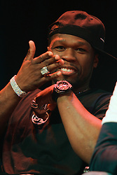 Feb 28; New York, NY, USA; Rapper Fifty-Cent during the press conference announcing fight between Floyd Mayweather and Miguel Cotto. The two will meet May 5, 2012 at the MGM Grand Garden Arena in Las Vegas, NV.