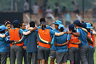 Indian team make a huddle before the start of the match third women's one day International ( ODI ) match between India and Australia held at the Reliance Cricket Stadium in Vadodara, India on the 18th March 2018<br /> <br /> Photo by Vipin Pawar / BCCI / SPORTZPICS