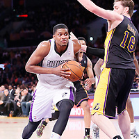 28 February 2014: Sacramento Kings small forward Rudy Gay (8) drives past Los Angeles Lakers center Pau Gasol (16) during the Los Angeles Lakers 126-122 victory over the Sacramento Kings at the Staples Center, Los Angeles, California, USA.
