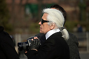 Karl Lagerfeld during a photo shoot on Fulton Landing, Brooklyn, NY. March 24, 2008