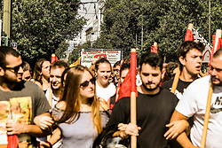 Demonstrators' shout slogans during a demonstration marking a 24-hour general strike in Athens, Greece, 02 October 2019.<br /> <br /> Pictured: <br /> Dimitris Lampropoulos  | EEm date