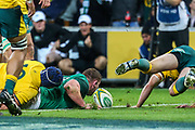 Tadhg Furlong of Ireland scores a try during the Australian Wallabies vs Ireland second Mitsubishi Estate test match at AAMI Park, Melbourne, Australia on 16 June 2018. Picture by Martin Keep.