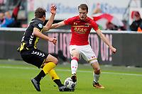 (L-R) Lukas Gortler of FC Utrecht, Thomas Ouwejan of AZ Alkmaar